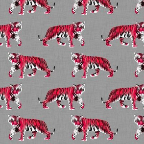 Tiger Walk - Smaller Scale Red on Grey