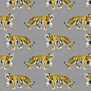 Tiger Walk - Smaller Scale Yellow Orange on Grey