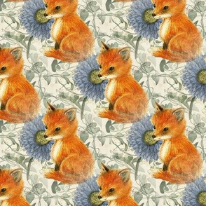 Baby Fox Blue flowers and Vines