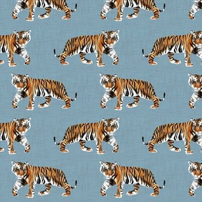 Tiger Walk - Smaller Scale on Blue