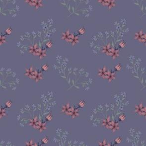 Vintage Look Floral Pink and Blue