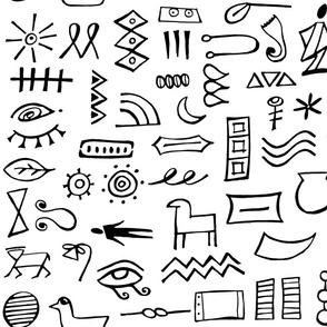 hieroglyphics on white