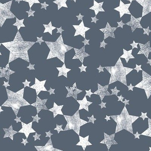 Lino Print Dark Blue-Gray and White Stars