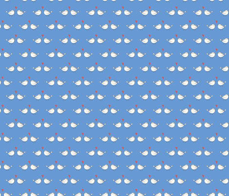 Little birds BLUE fabric by vivdesign on Spoonflower - custom fabric