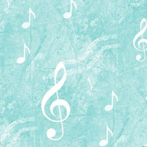 Musical Notes and Clefs on Aqua