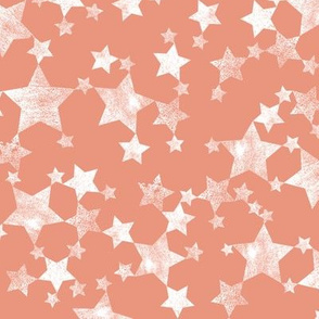 Hand Printed Coral and White Stars
