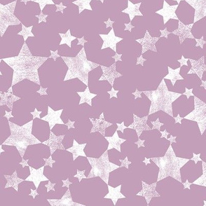 Mauve and White Lino Printed Stars