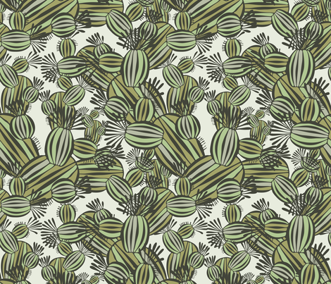decorative cacti fabric by talanaart on Spoonflower - custom fabric