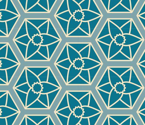 Blue Daffodil Hexagons fabric by meg_sharie on Spoonflower - custom fabric