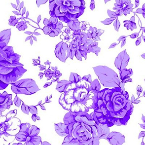 Large Watercolor Floral/Lilac and Violet on White