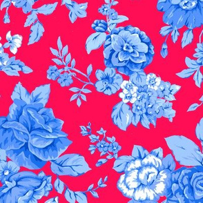 Large WatercolorFloral/Blues on Red