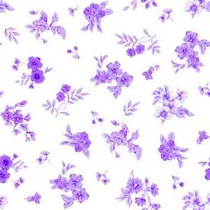Small Floral Watercolor of Lilac and Violet on White
