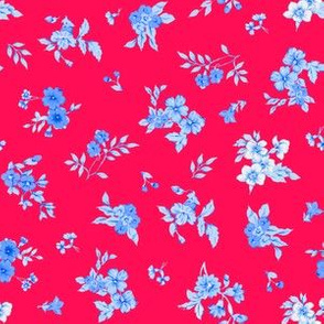 Small Watercolor Floral/Blue on Red