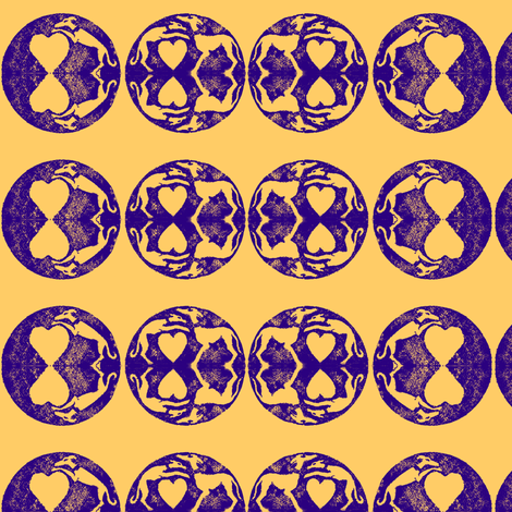 Hounds over Hearts Blockprint-Mirrored-violet on gold fabric by cloudsong_art on Spoonflower - custom fabric