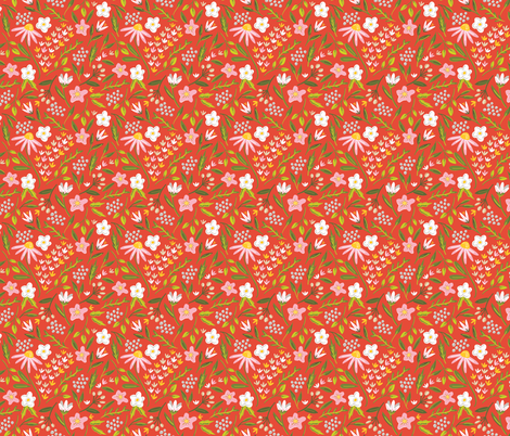 Springtime Floral Red fabric by alexazurcher on Spoonflower - custom fabric