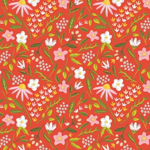 Springtime Floral Red