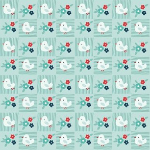 Flowers and birds on light blue