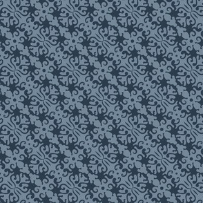 Floral abstract blue small