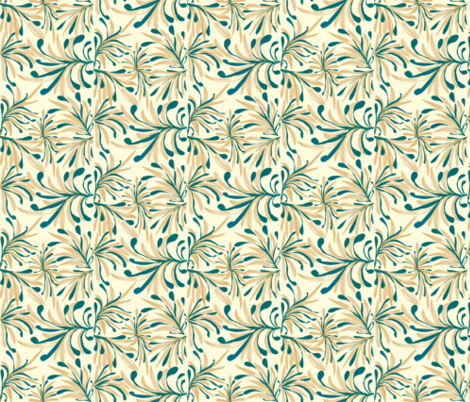 Wild Winter Grassland Tipped with Teal on Magnolia Cream -  Large Scale fabric by rhondadesigns on Spoonflower - custom fabric