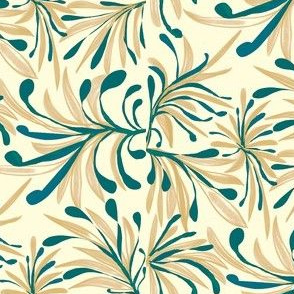 Wild Winter Grassland Tipped with Teal on Magnolia Cream -  Large Scale