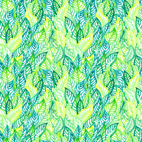Tropic leaves small  scale  fabric by magic_pencil on Spoonflower - custom fabric
