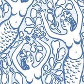 MERMAIDS WALLPAPER blue