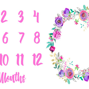 Miletones Months Blanket Purple and Gold Painted Floral Wreath