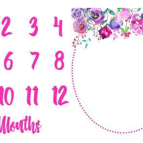 Miletones Months Blanket Purple and Gold Floral Drop Bright Pink