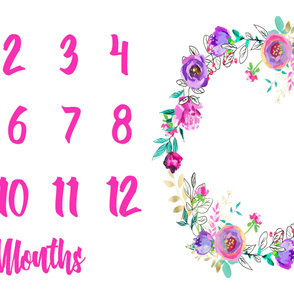 Miletones Months Blanket Purple and Gold Painted Floral Wreath Bright Pink