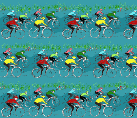 Tour de Bicycle Race  fabric by lisakling on Spoonflower - custom fabric