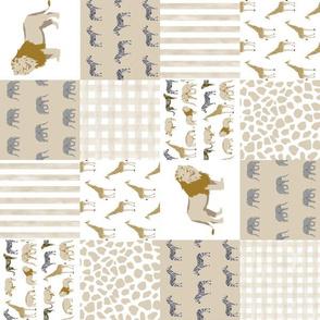 "3"" safari quilt baby neutral lion giraffe nursery crib"