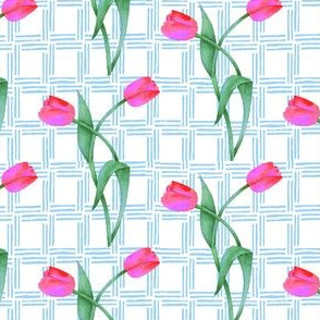 Two Tulips on a Trellis of Light Blue