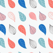 Leaves - blue (white background)