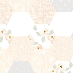 peach + gray rosette hexagon wholecloth