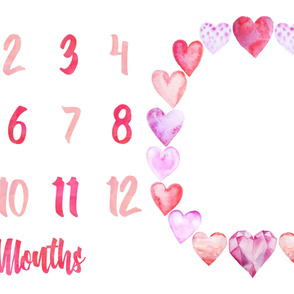 Miletones Months Blanket Watercolor Hearts