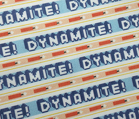 Dynamite!*  ||  polyester jacquard stripes pixel vintage double knit 70s retro groovy tee t-shirt shirt children childrens tnt typography vintage