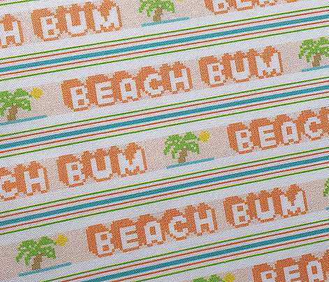 Beach Bum*  ||  polyester jacquard stripes pixel vintage double knit 70s retro groovy tee t-shirt shirt children childrens palm tree Hawaii surfing surfer surf sun summer typography vintage