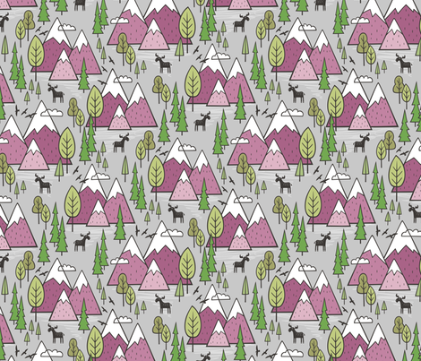 Mountains Forest Woodland Trees & Moose Mauve on Grey fabric by caja_design on Spoonflower - custom fabric