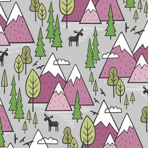 Mountains Forest Woodland Trees & Moose Mauve on Grey
