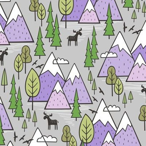 Mountains Forest Woodland Trees & Moose Lavender Purple on Grey