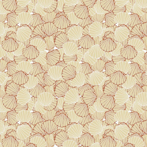 Scallop shells in Tan and Rust colors