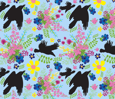 2018 Wildflower Ravens 6x6 fabric by crowcreekcool on Spoonflower - custom fabric
