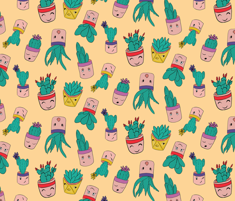 happy cacti-01small fabric by stargazingseamstress on Spoonflower - custom fabric
