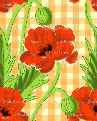 Orange Gingham Poppy Print