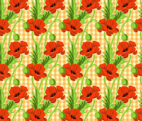 Orange Gingham Poppy Print fabric by espressochange-o on Spoonflower - custom fabric