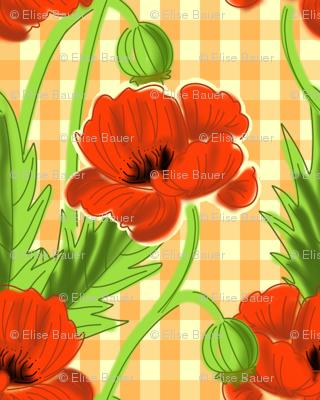 Orange Gingham Poppy Print