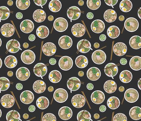 Ramen on Charcoal fabric by landpenguin on Spoonflower - custom fabric