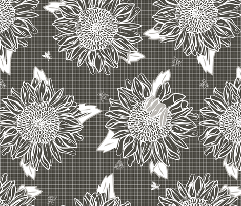 Country Sunflowers with Bees dark fabric by colour_angel_by_kv on Spoonflower - custom fabric