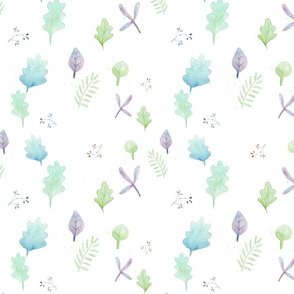 Pastel Leaves  Helix Pattern on white