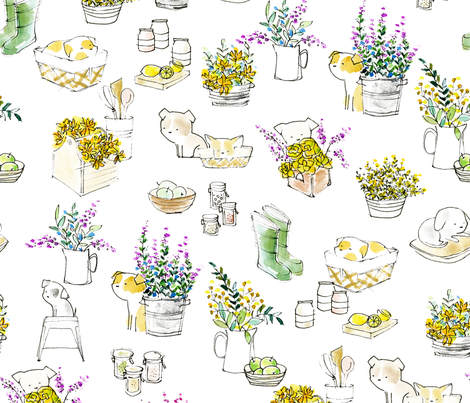 Saturday Mornings - © Lucinda Wei fabric by lucindawei on Spoonflower - custom fabric
